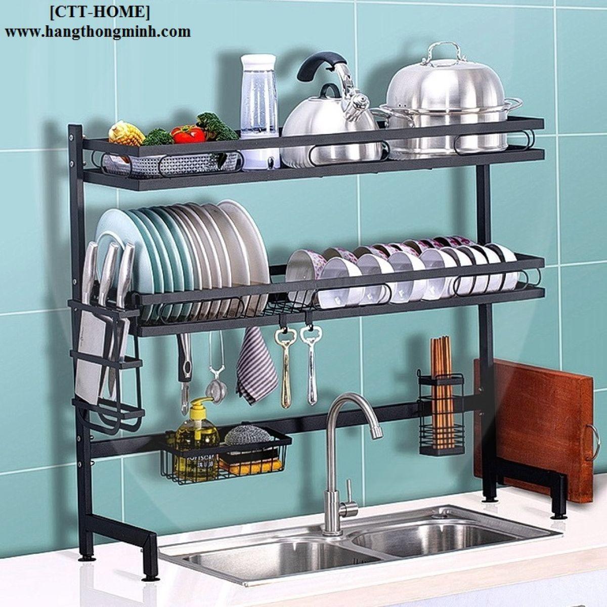 Giá Kệ Phơi Chén Bát Đĩa Để Bàn Bếp Đa Năng 2 Tầng - Mã KC2T85