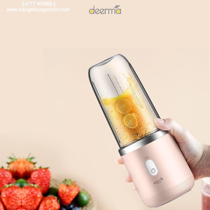 máy xay sinh tố có pin sạc không dây đi du lịch mini cầm tay deerma nu05