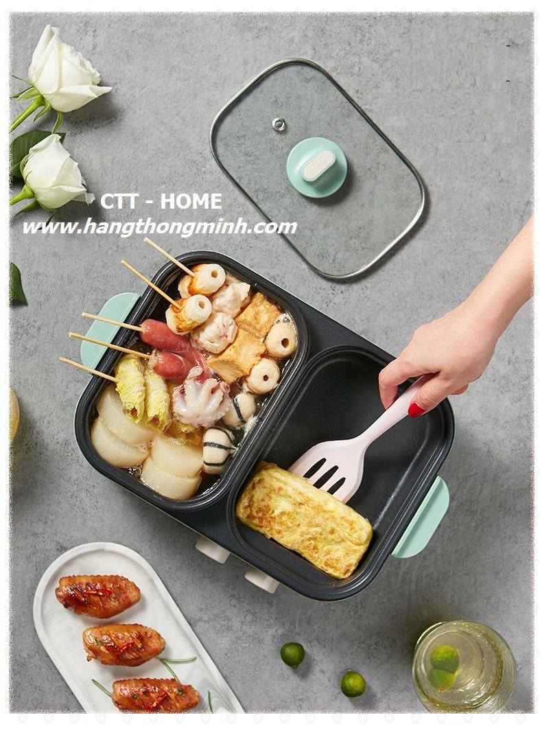 bếp nấu điện 2 ngăn chiên nướng lẩu Bear C12D1
