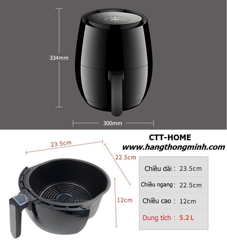 nồi chiên không dầu 5L cảm ứng cao cấp giá rẻ HANSHOW HX-3502B