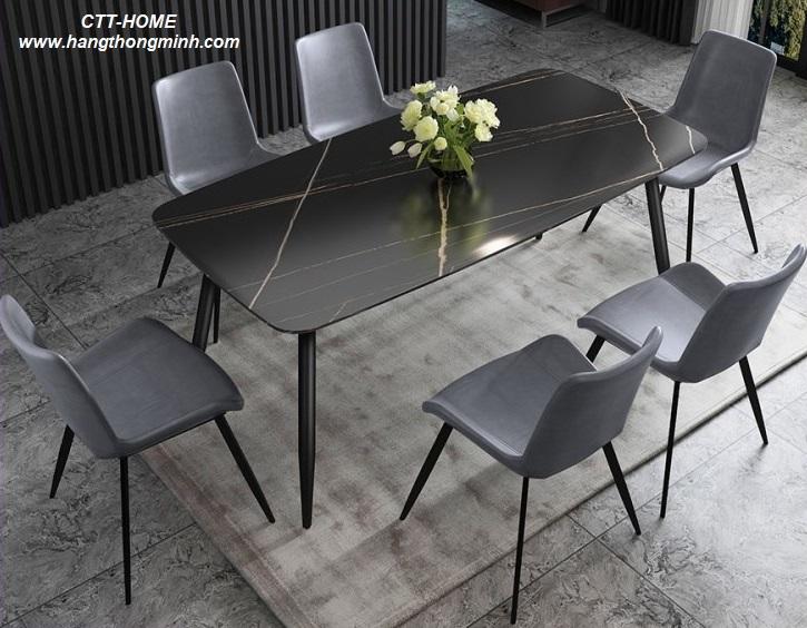 bàn ăn gia đình mặt đá màu đen màu trắng sang trọng hiện đại tphcm