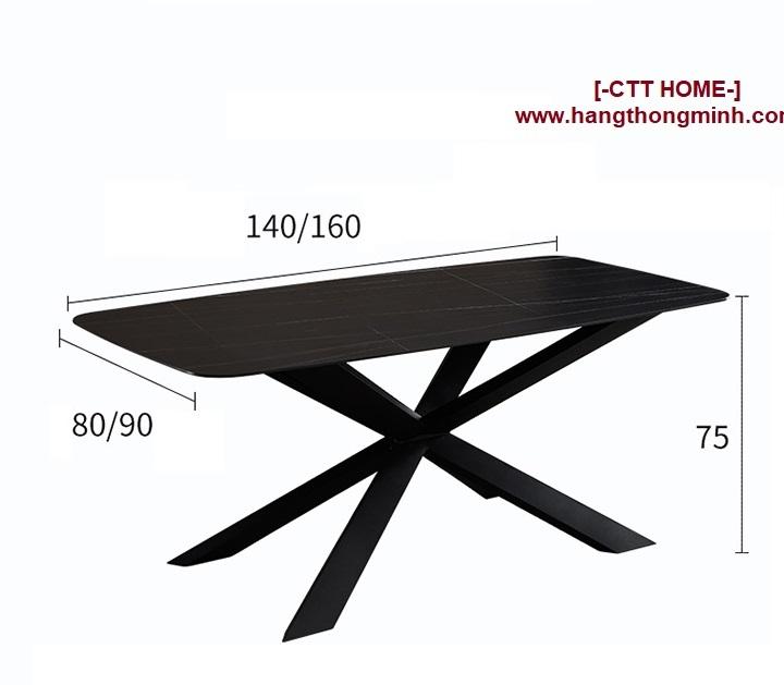 bàn ăn gia đình mặt đá cao cấp 1m4 - 1m6 chân thép hình chữ X chéo tphcm