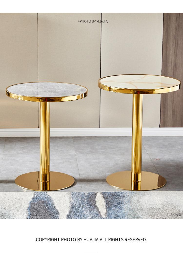 bàn trà cafe tròn, bàn tròn tiếp khách mặt đá chân mạ vàng sang trọng