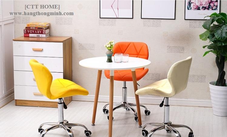 ghế quầy bar cà phê lễ tân chân xoay 360 độ nệm bọc vải, chân nâng hạ cao thấp có bánh xe, ghế trang điểm xoay cho studio hangthongminh.com