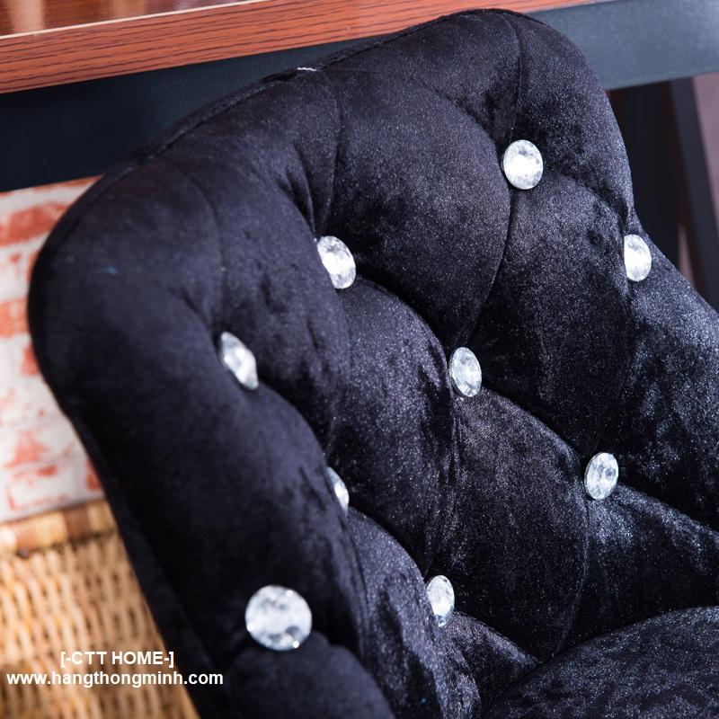 Ghế xoay cà phê quầy bar lễ tân đẹp bọc nhung chân thép mạ inox nâng cao thấp