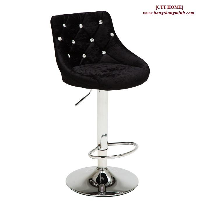 ghế xoay trang điểm livestream, ghế quầy bar bọc nỉ nhung đính hạt pha lê