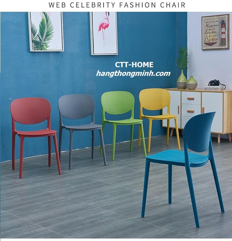 ghế cà phê tiếp khách, ghế ăn lưng nhựa đúc dạng lưới giá rẻ tphcm