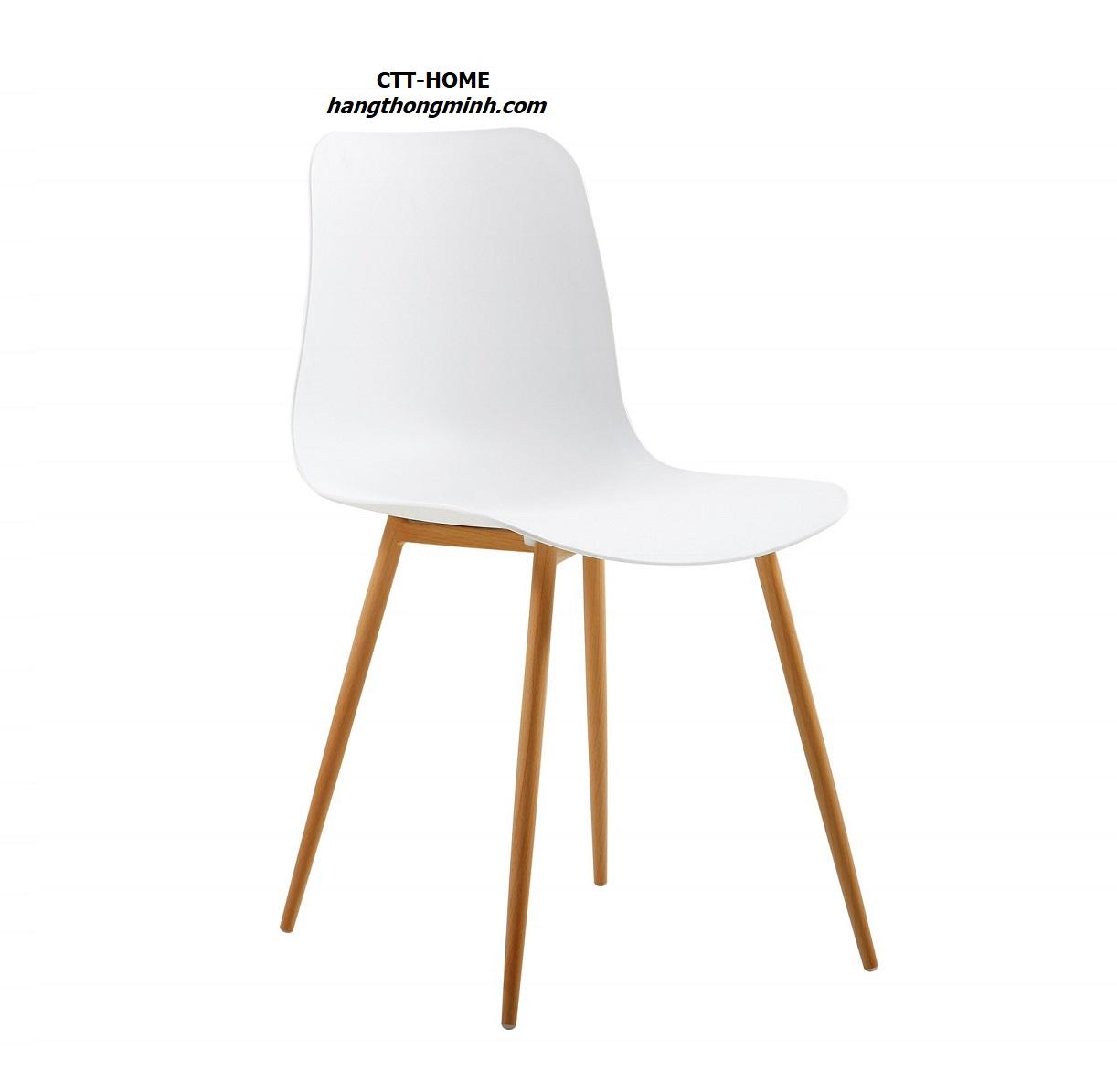 ghế cafe, ghế tiếp khách, ghế ăn gia đình lưng nhựa chân thép giả gỗ