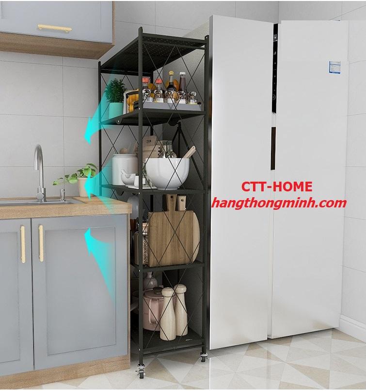 kệ để đồ đa năng phòng bếp phòng khách xếp gọn nhiều tầng có bánh xe