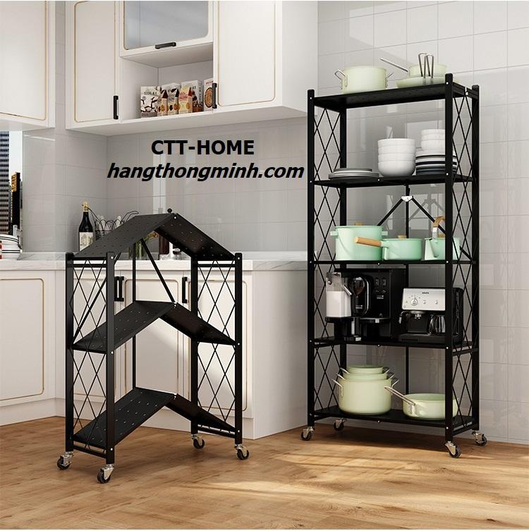 kệ sắt để đồ phòng bếp 3 tầng 5 tầng gấp gọn thông minh có bánh xe
