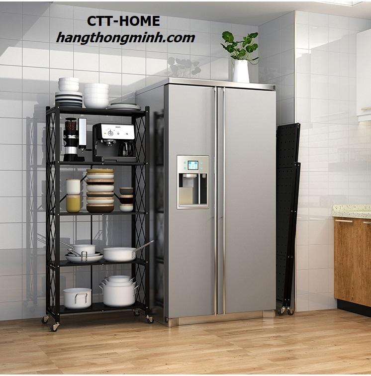 kệ xếp 5 tầng để đồ nhà bếp gấp gọn có bánh xe
