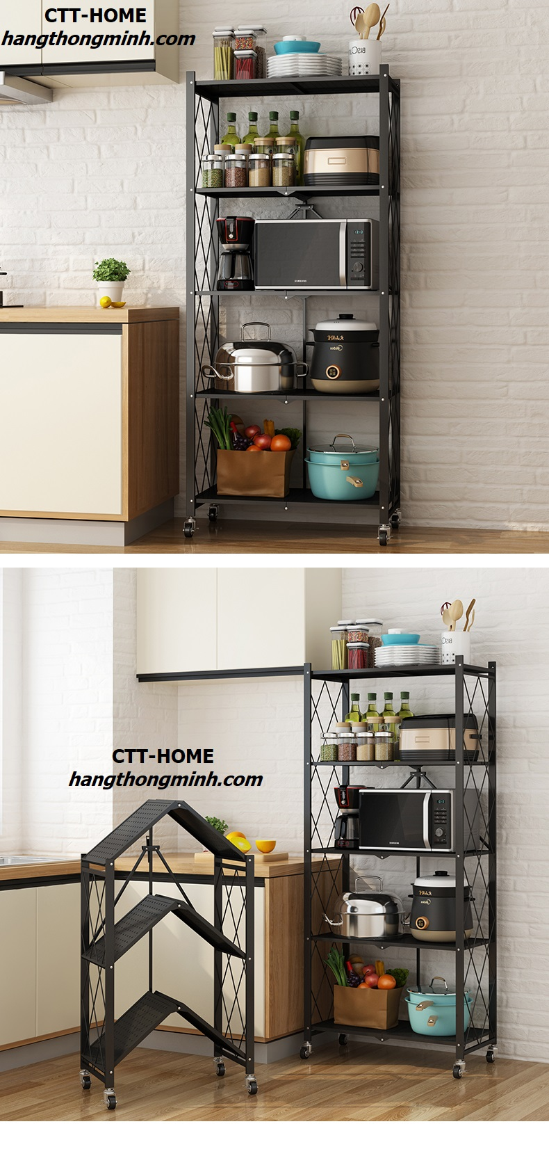 kệ bếp nhiều tầng gấp gọn thông minh có bánh xe